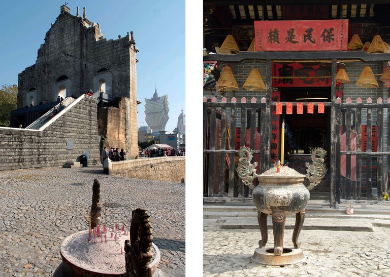 Left: St Paul's church ruin. Right: Na Tcha Temple
