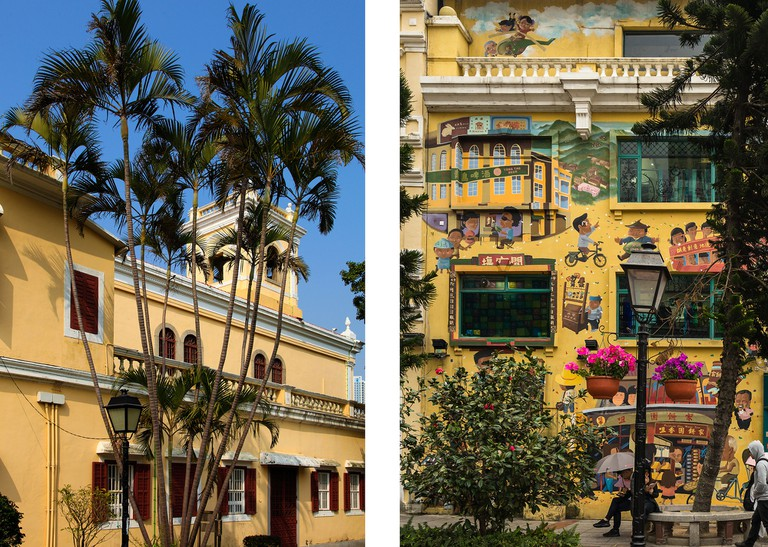 L: Taipa Village, Our Lady of Carmel church R: A colorful building in Taipa village
