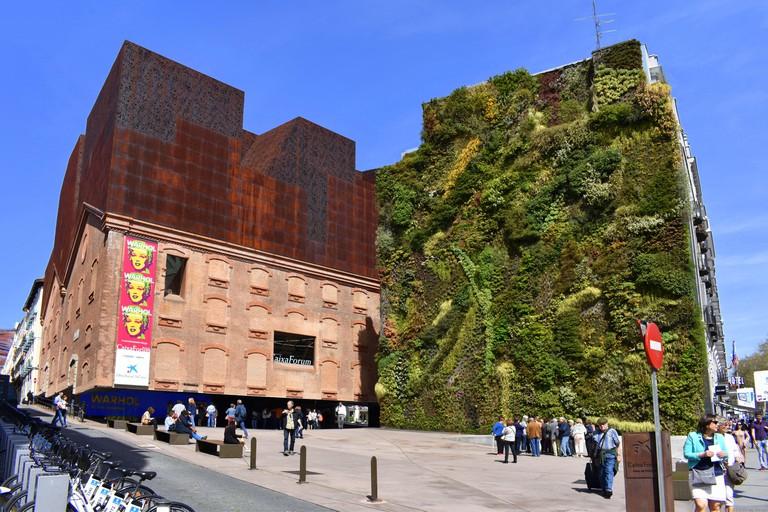 CaixaForum museum and cultural centre and garden wall, Paseo del Prado, Madrid, Spain