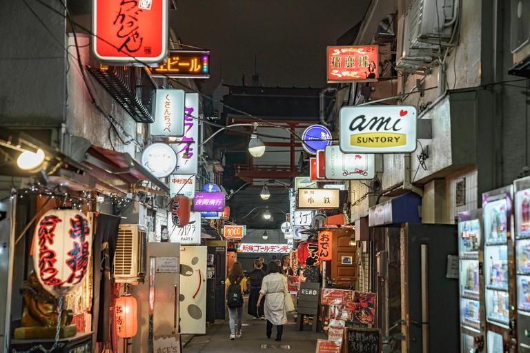 Street Scene at Golden-Gai, Shinjuku-Ku, Tokyo, Japan