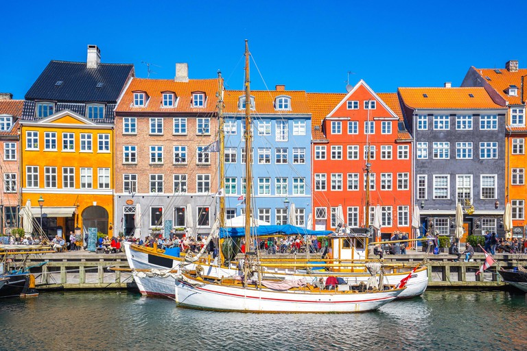 Nyhavn the waterfront canal in Copenhagen, Denmark.