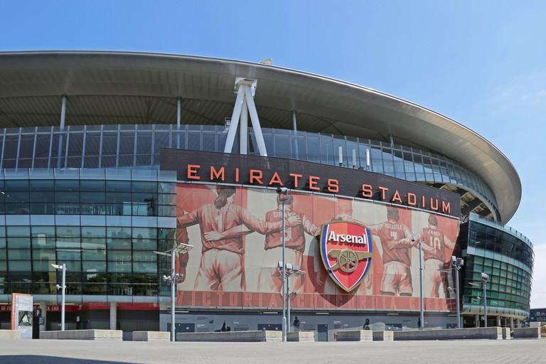 Exterior view of London's Emirates Stadium, home to Arsenal football club.