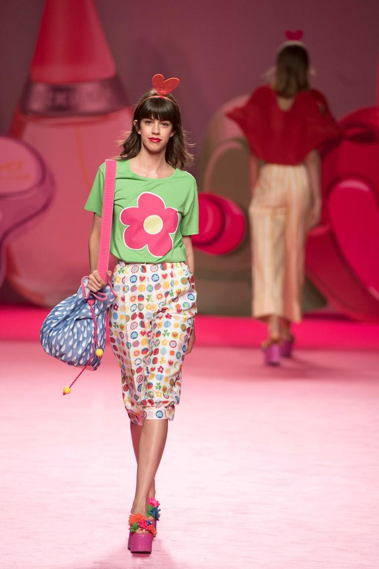 Madrid, Spanien. 08th July, 2018. Model at the Agatha Ruiz de la Prada fashion show at the Mercedes-Benz Fashion Week Madrid Spring/Summer 2019 at the exhibition center Ifema. Madrid, 08.07.2018 | usage worldwide Credit: dpa/Alamy Live News