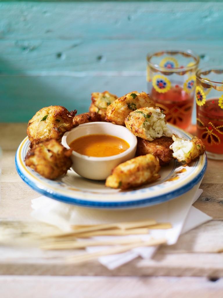Pasteis de bacalhau, Portuguese salt cod fritters with chilli sauce