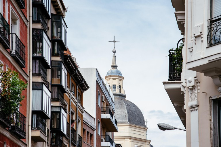 Scenic view of Lavapies neighborhood in Madrid. It was considered the most typical neighborhood of Madrid, now has been selected as the coolest neigbo