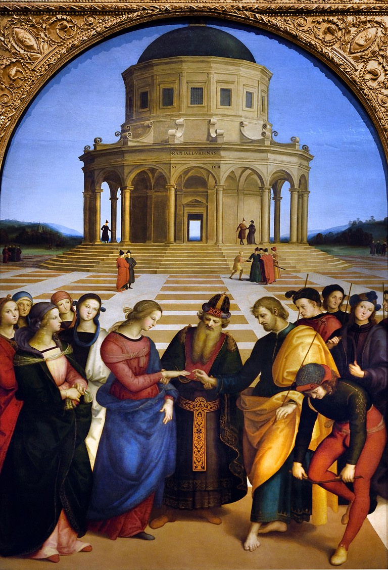 The Marriage of the Virgin 1504 by Raffaello Sanzio (Raphael) actif 1483-1520 15-16th Century, Italy, Italian.