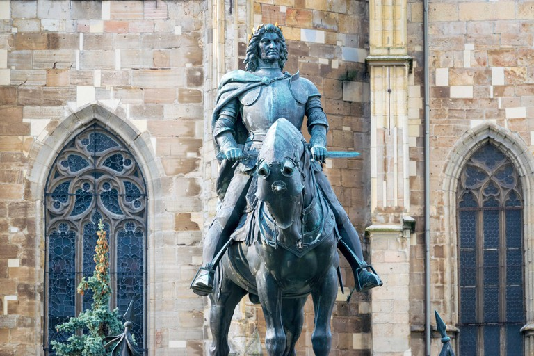The Matthias Corvinus Monument by Janos Fadrusz in Cluj-Napoca, Romania.