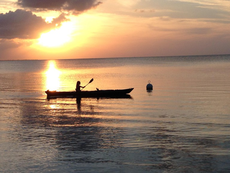 Grand Cayman sunset with kayak