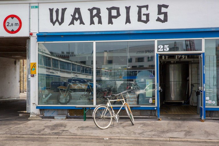 Exterior of the hip and trendy Warpigs, a brewpub (craft beer micro brewery and restaurant), located in the Meatpacking District, Vesterbro, Copenhagen ;
