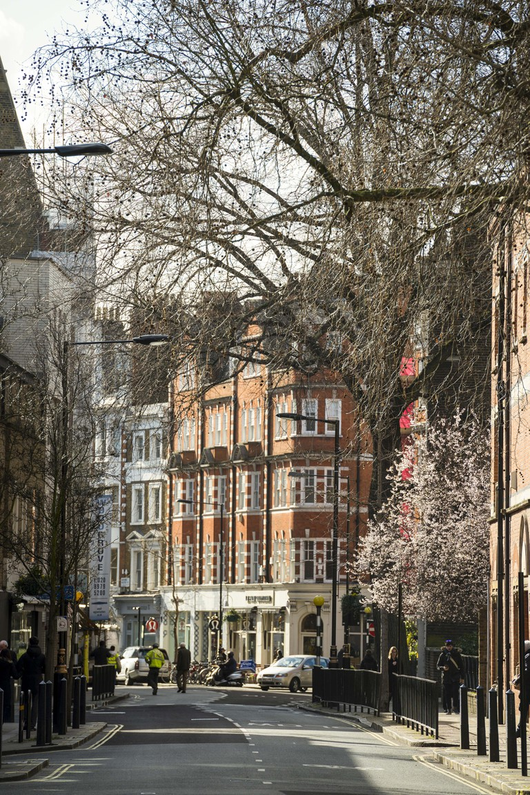 View Looking south down Marylebone High Street in Winter