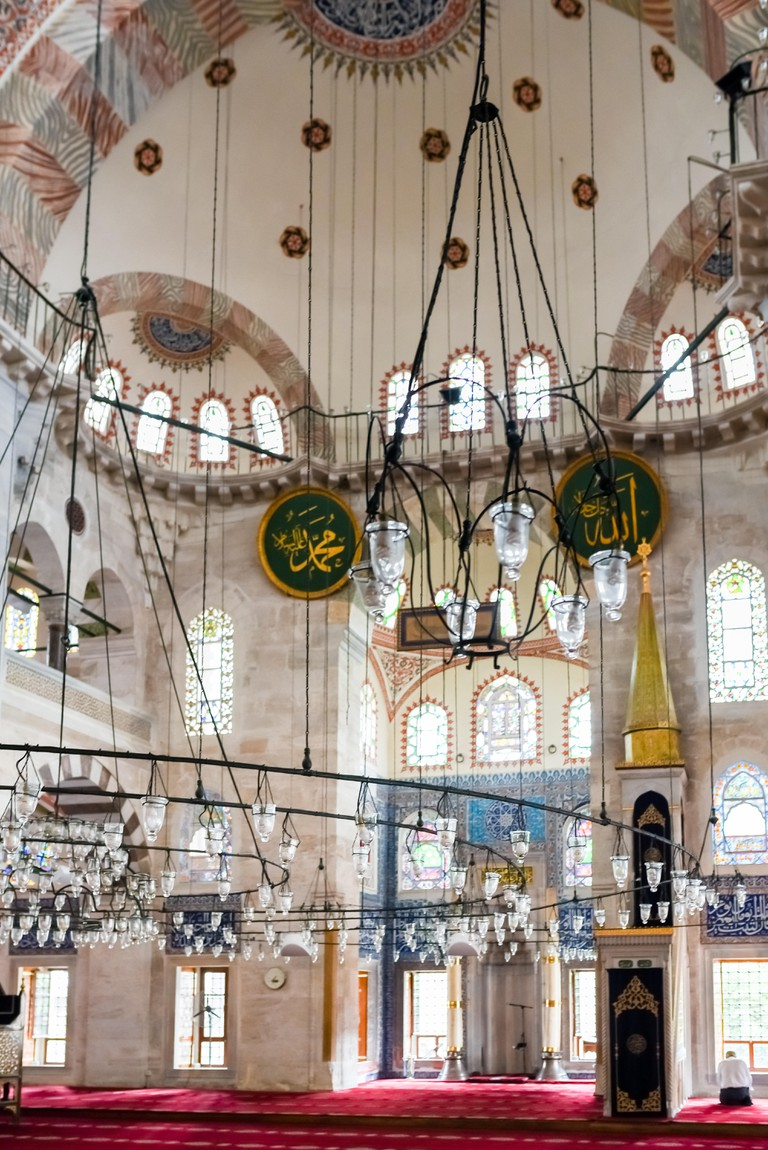 Interior view of Kilic Ali Pasha Mosque that is part of Ali Pasha Complex, built between 1580 and 1587 by Mimar Sinan in Beyoglu, Istanbul.