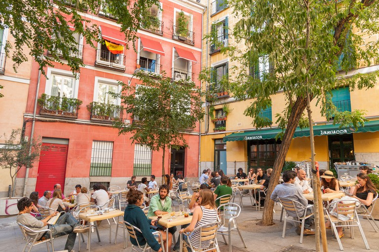 A colourful square in Malasana district, Madrid