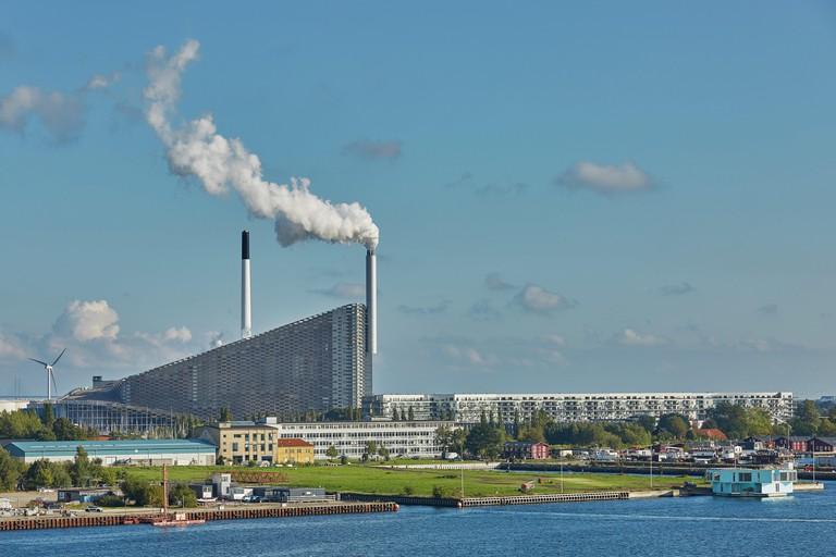 COPENHAGEN, DENMARK - MAY 25, 2017: Amager Bakke / Copenhill Waste-to-Energy Power Plant in Copenhagen. The rooftop ski area opens Friday 4 October 20
