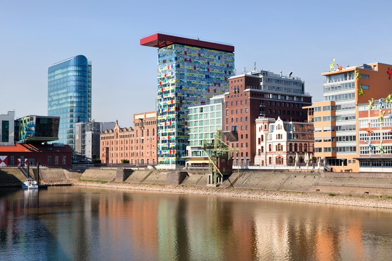 View of modern and vintage  architecture at Medienhafen or Media Harbour in Dusseldorf city, Germany