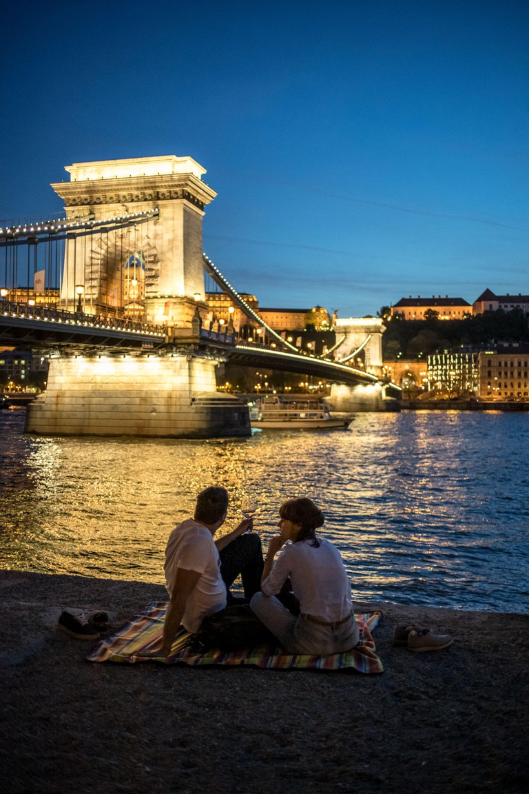 Romantic atmosphere while sunset in Budapest, April 2018