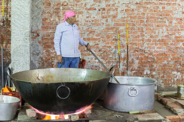 Commercial kitchen at Bangla Sahib Gurudwara, the largest Sikh sanctuary in Delhi
