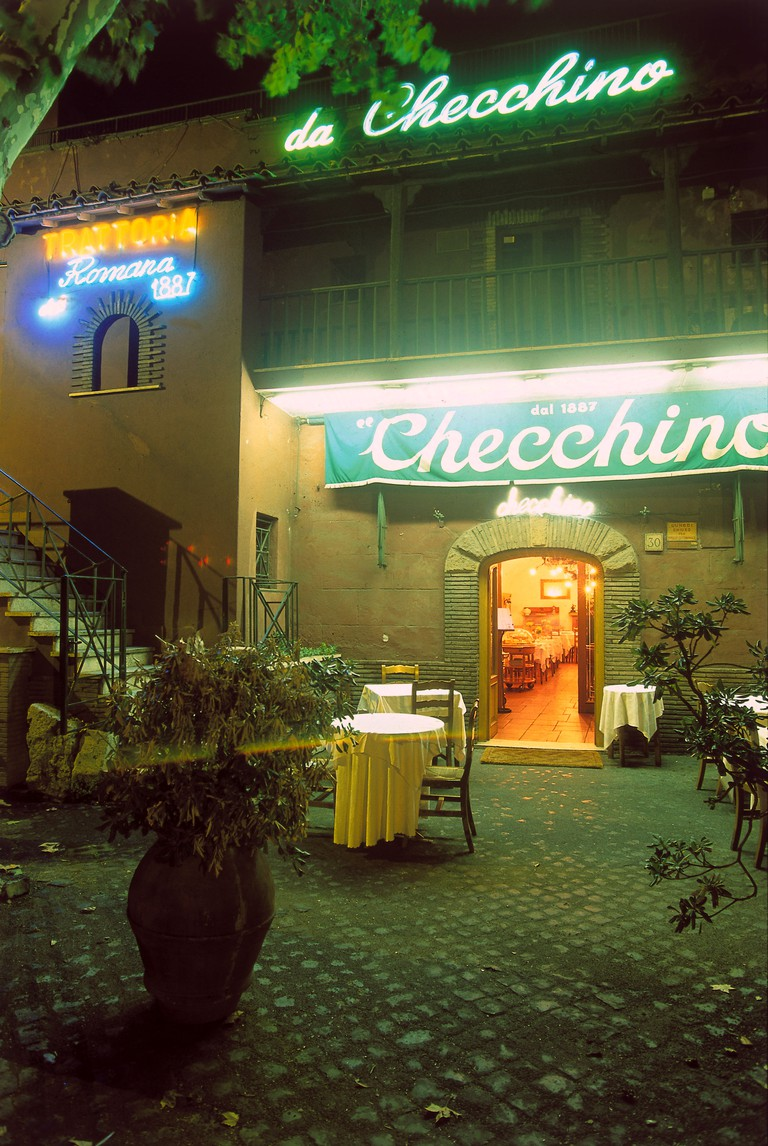 Rome, Checchino dal 1887, dining terrace and neon sign above entrance