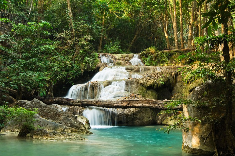Tropical rainforest waterfall and pool. Erawan National Park, Thailand. Image shot 2007. Exact date unknown.