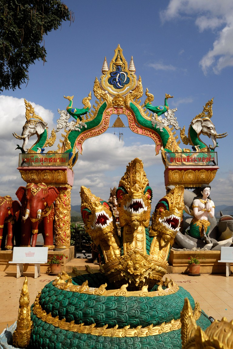 Golden triangle arch at Chiang Saen,Thailand