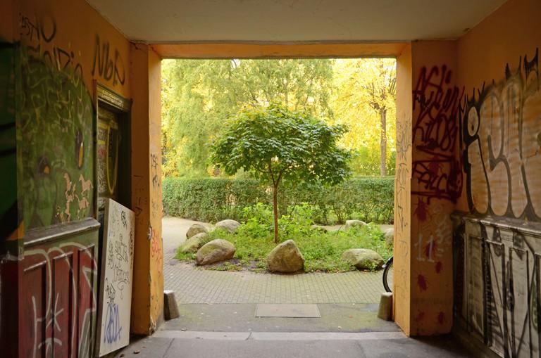 Building entrance and courtyard in Norrebro, Copenhagen, Denmark