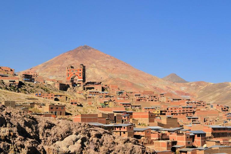 Cerro Rico mountain with silver mines above Potosi, Bolivia