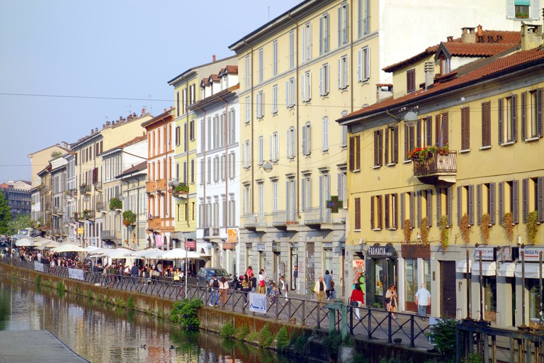 A view of the Naviglio Grande in Milan, Italy.