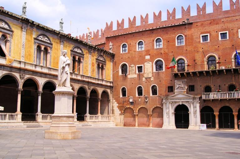 Piazza dei Signori with Dante statue, Verona, Italy