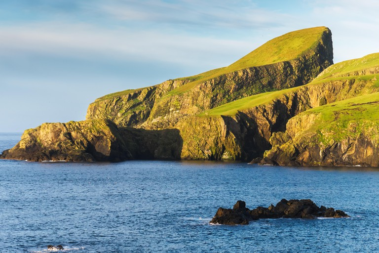 An image of Sheep rock in Fair isle, an island in the Atlantic ocean between Orkney and Shetland. Image shot 04/2014. Exact date unknown.