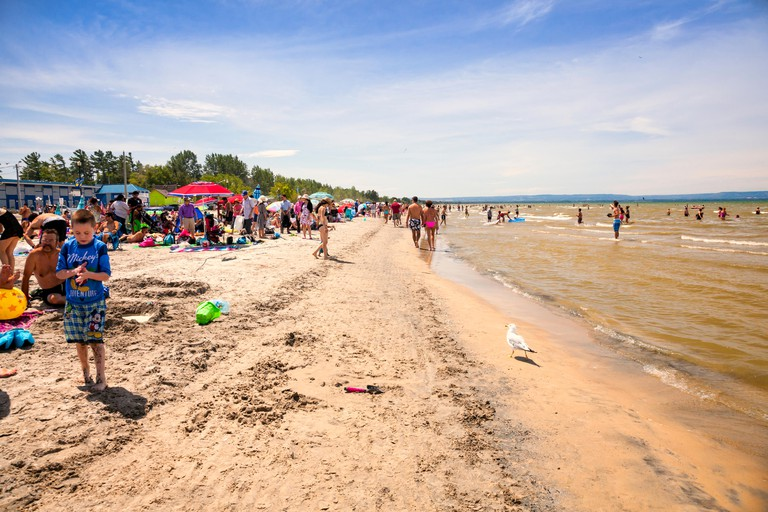 Busy crowed beach at Wasaga Beach in Ontario, Canada.