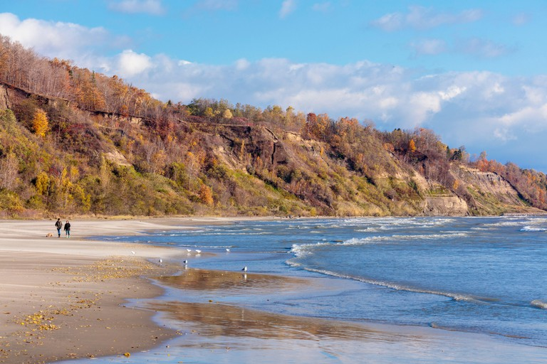 Scarborough Bluffs a 300 foot high escarpment and beach in autumn in Bluffer's Park in Toronto, Ontario, Canada