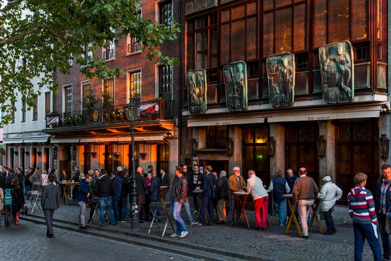 """Old town with many beer pubs, Dusseldorf, Germany, beer garden, typical """"Alt Bier"""" pubs, bars,"""