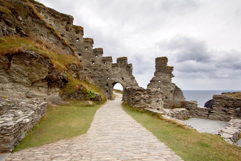 Ruins of Tintagel castle in North Cornwall coast, England, United Kingdom