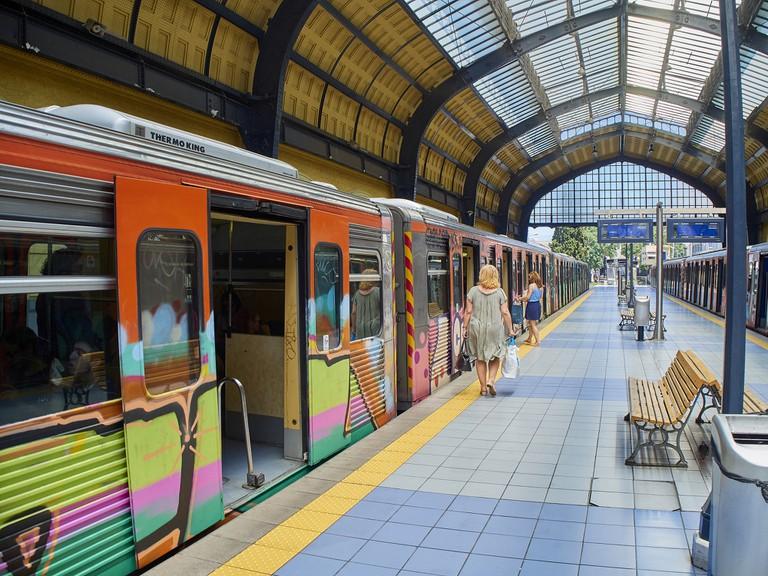 Piraeus Metro station. Athens. Attica, Greece.