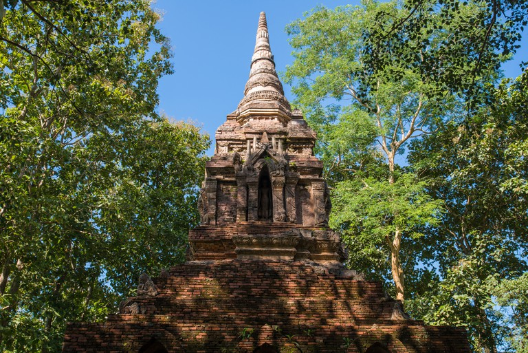 The teak forest temple or Wat Pa Sak the most beautiful ancient pagoda in Chiang Saen district of Chiang Rai province of Thailand.