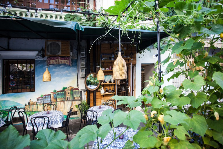 Authentic outdoor cafe Old Tbilisi