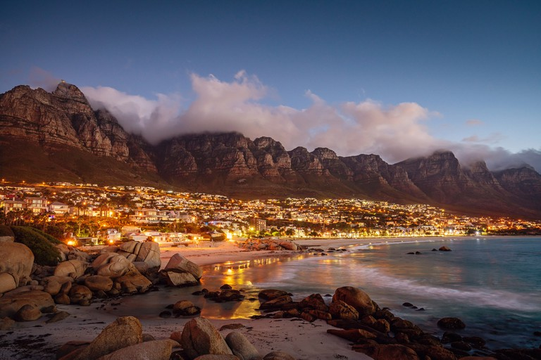 Camps Bay in Cape Town at twilight