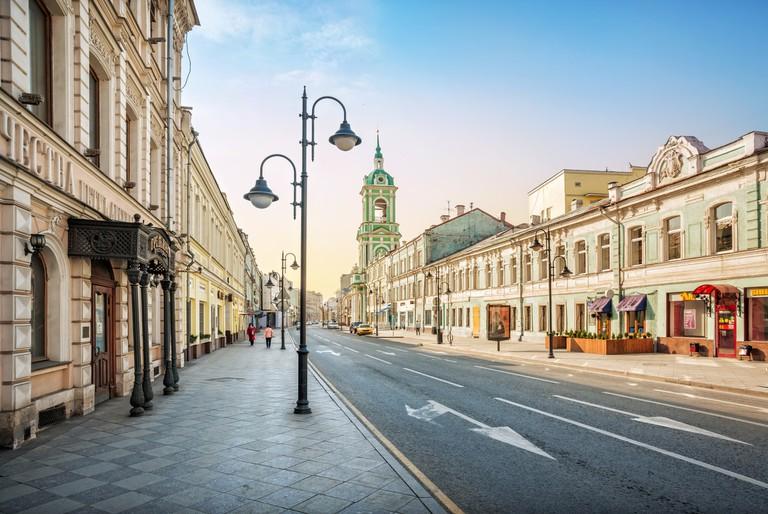 The bell tower on Pyatnitskaya Street in Moscow