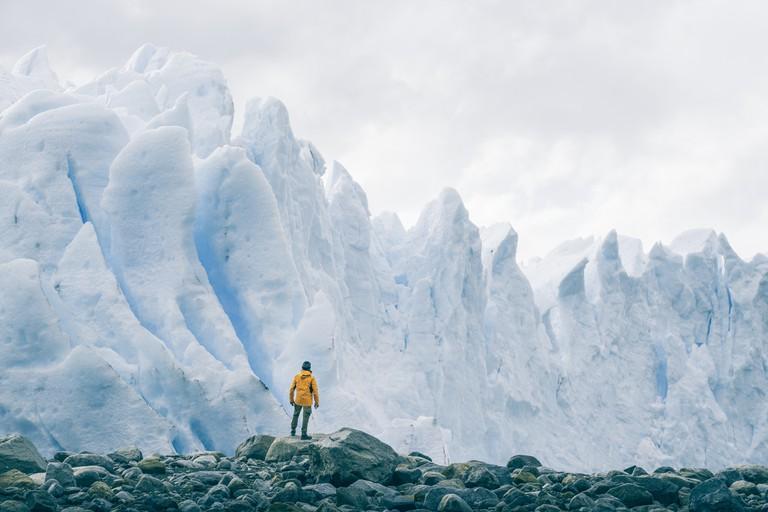 Tourist admiring the Perito Moreno glacier, Argentina