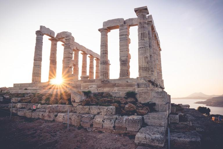 Temple of Poseidon at sunrise