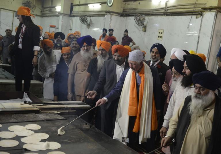 Britain's Prince Charles pays obeisance at Sri Bangla Sahib Gurudwara on the occasion of 550th birth anniversary of the founder of Sikh Guru Nanak Dev Ji, November 13, 2019