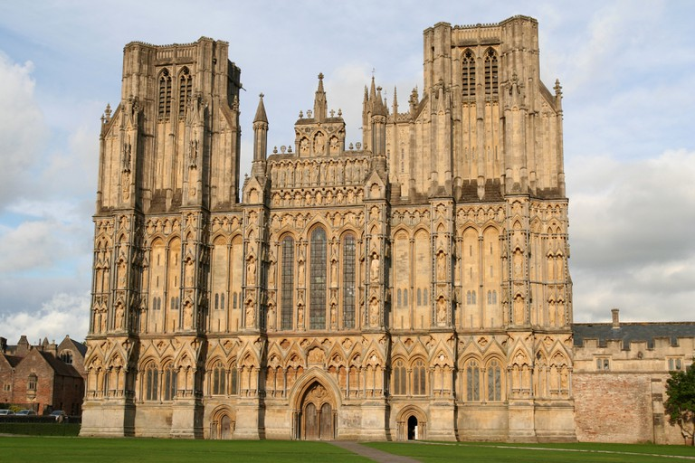The ornate facade of the beautiful Cathedral at Wells, Somerset, U.K.
