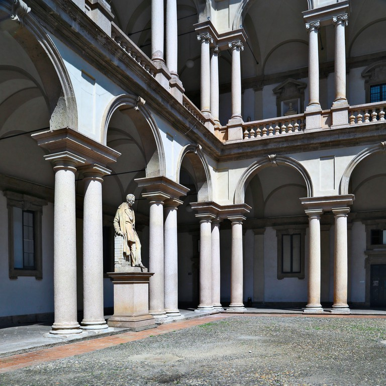 Internal courtyard view of Pinacoteca di Brera, Milan
