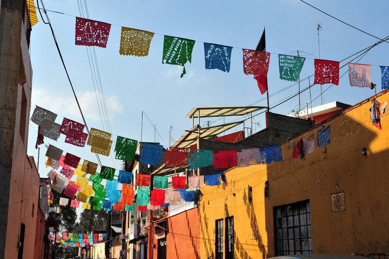 A street of colourful houses in Mexico City.