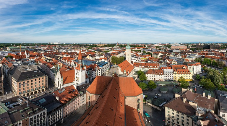 View from tower of St. Peter's Church above the city center of Munich, Bavaria, Germany