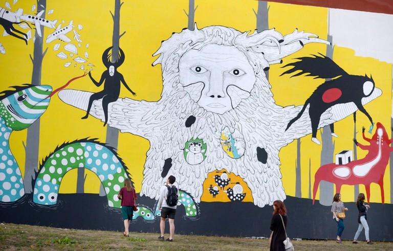 A graffiti painted in Oktyabrskaya Street as part of the 2016 Vulica Brasil Brazilian and Belarusian street art festival