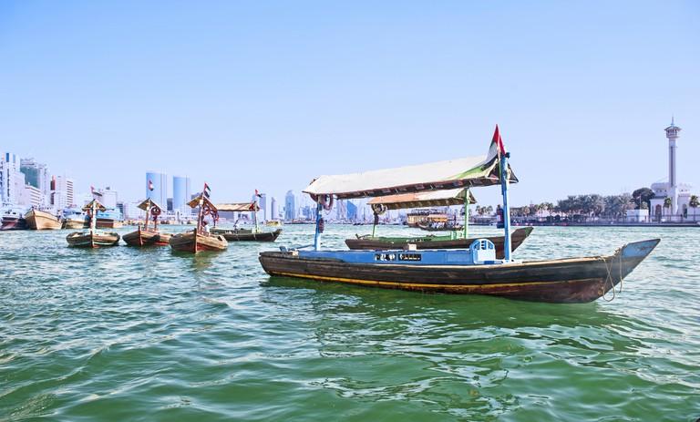 Traditional abra boat in Dubai Creek