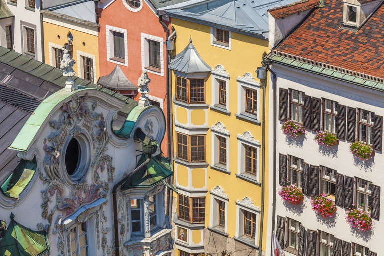 Austria, Tyrol, Innsbruck, Helblinghaus, baroque, stucco facade