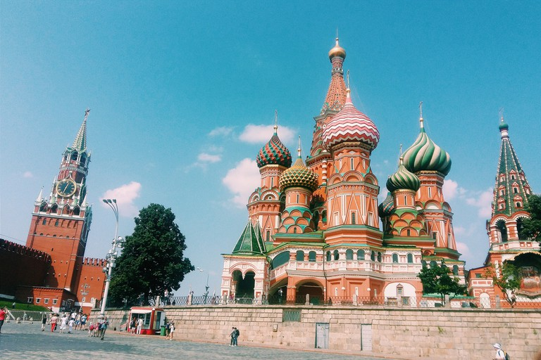 St Basil Cathedral And Spasskaya Tower At Moscow Kremlin Against Sky