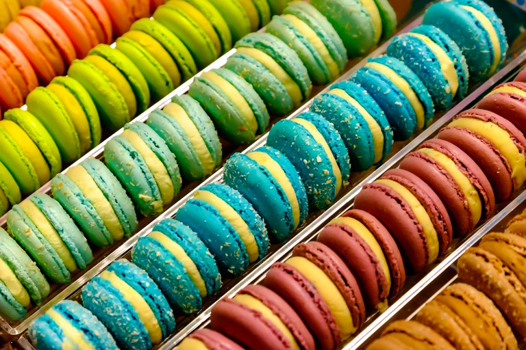 Full Frame Shot Of Multi Colored Macaroon For Sale In Market