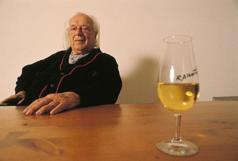 Rafael Alberti, writer and poet Rafael Alberti with a wine glass on the table